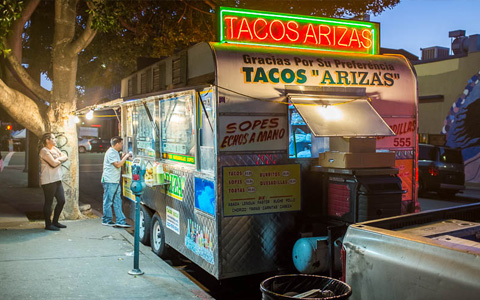 Taco truck in Los Angeles.